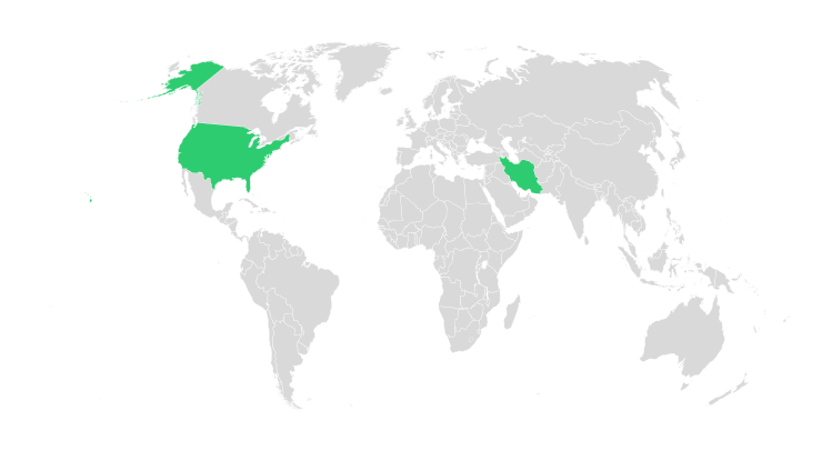 Example creating a map of the world with some countries colored world with usa and iran highlighted gumiabroncs Gallery